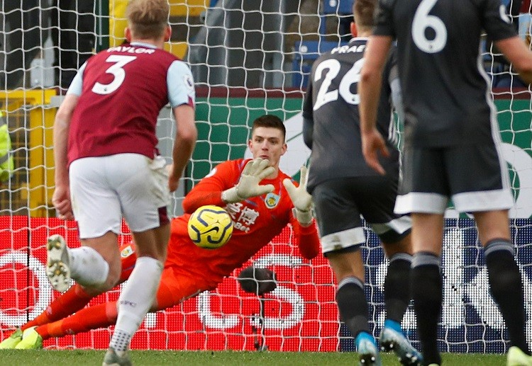 Nick Pope saving a penalty vs Leicester City in the Premier League