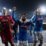 Napoli celebrates victory at Stadio de San Pablo after winning vs Juventus in Serie A