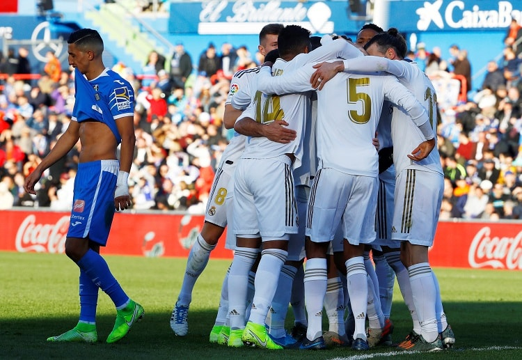 Raphael Varane scores in the 34th minute to open the scoring for Real Madrid in their La Liga clash against Getafe