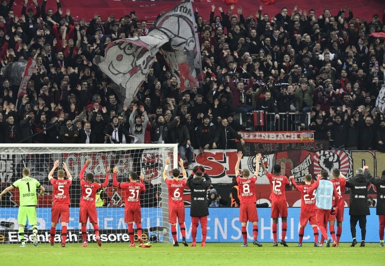 Bayer Leverkusen players feel ecstatic with home fans after beating BVB 4-3 in the latest Bundesliga match