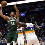 Giannis Antetokounmpo scores 34 points to give the Milwaukee Bucks a 120-108 win against the Pelicans in recent NBA game