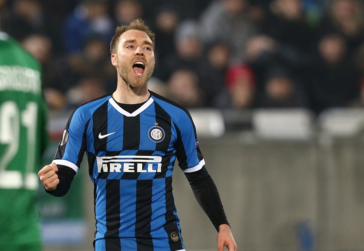 Christian Eriksen scores his first goal for Inter Milan during their 1st leg clash against Ludogorets in Europa League