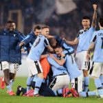 Lazio manages to celebrate victory at Stadio Olimpico after winning against Inter Milan in Serie A