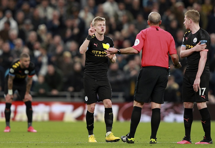 Oleksandr Zinchenko became the third Manchester City player to be sent off in the Premier League this season