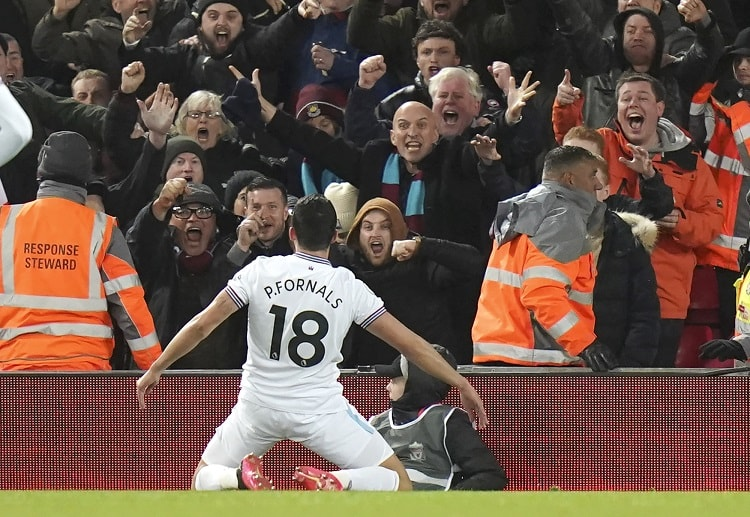 Pablo Fornals hits West Ham's second goal during their Premier League clash against Liverpool