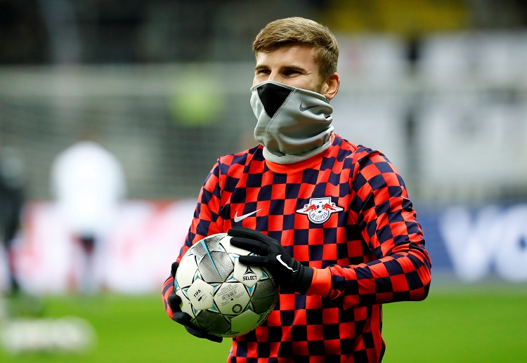 RB Leipzig's Timo Werner during the warm up before the DFB-Pokal match against Eintracht Frankfurt