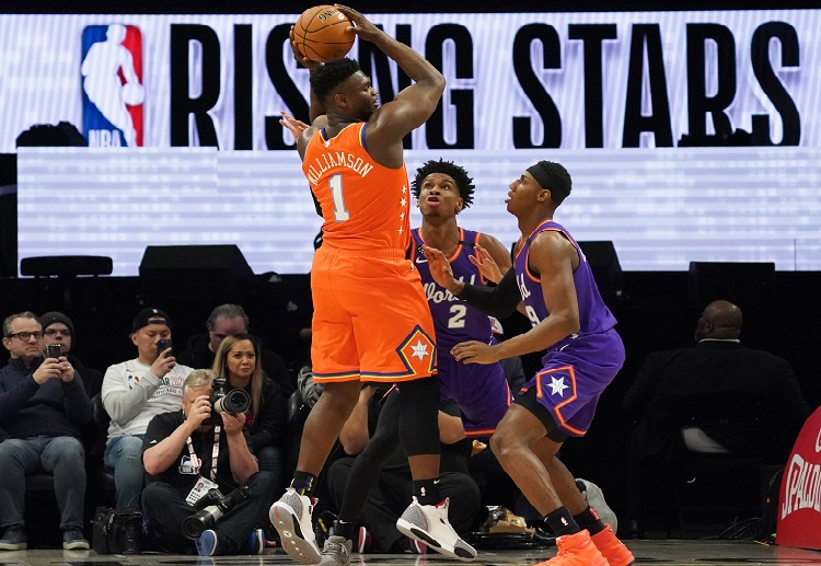 Team USA Zion Williamson slams two-handed jam during the second quarter of NBA Rising Stars