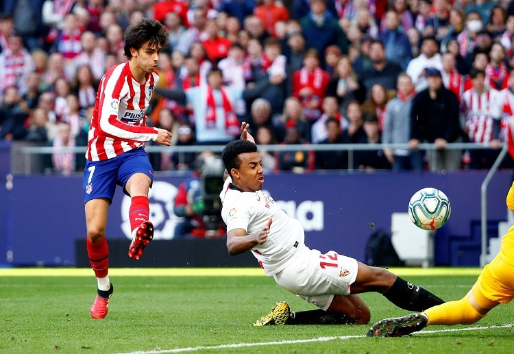 Atletico Madrid forward Joao Felix contributes a goal during a La Liga game versus Sevilla