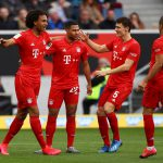 Serge Gnabry hits Bayern Munich's first goal during their Bundesliga clash against Hoffenheim