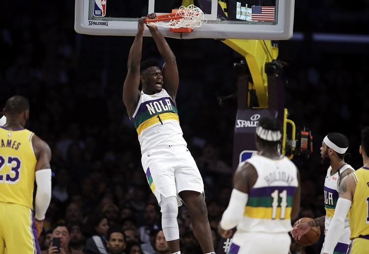 New Orleans Pelicans' Zion Williamson dunks the ball during the NBA match against the Lakers