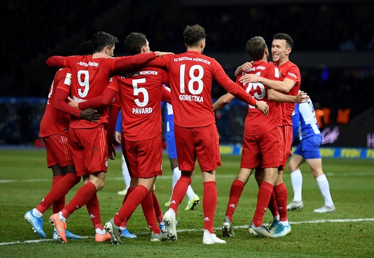 Bayern Munich players celebrate during one of their Bundesliga games this season