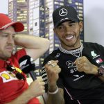 Lewis Hamilton and Sebastian Vettel pretends to box during the Formula 1 press conference