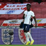 Bukayo Saka is ecstatic after scoring his first goal for England when they go against Austria in International Friendly